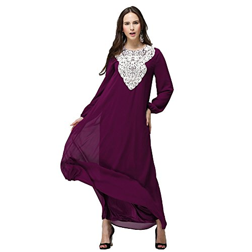 Mujeres Elegante Vestido de Musulmán Árabe Túnica Manga Larga Largos Vestidos Rosa / Morado / Verde / Negro / Azul / Rojo