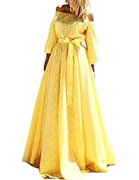 LaoZan Mujeres Vestidos de Fiesta para Bodas - Hendidura,Asimetría,Manga Larga - Estilo y Elegante Amarillo X-Large