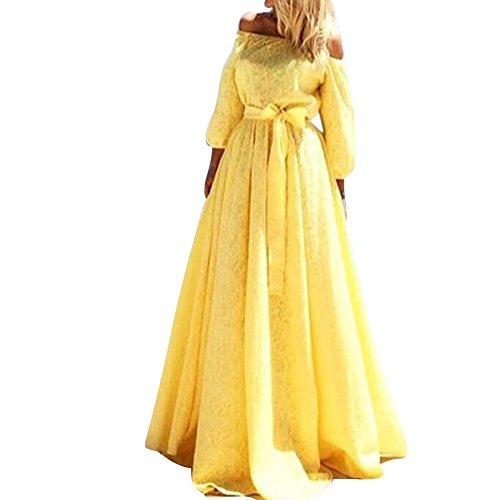 LaoZan Damen Schulterfrei kleid Elegant Einteilige Trägerlos Kleid Strandkleid Split Abendkleid Gelb