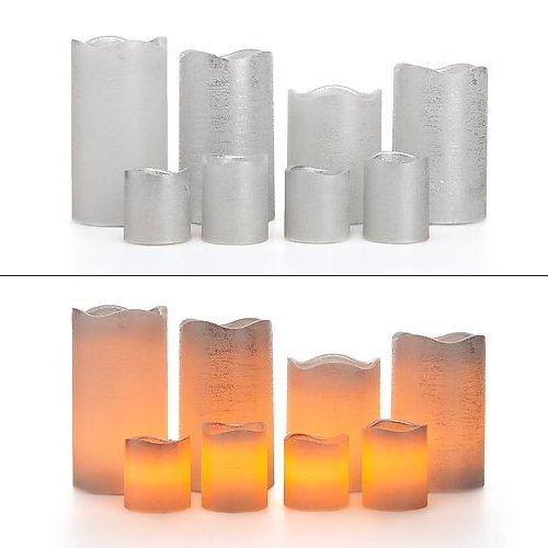 Silber-metallic Led (8 LED Echtwachskerzen mit Timer Funktion - 4 Stumpenkerzen & 4 Votikerzen - mehrere Farben wählbar (Silber Metallic))