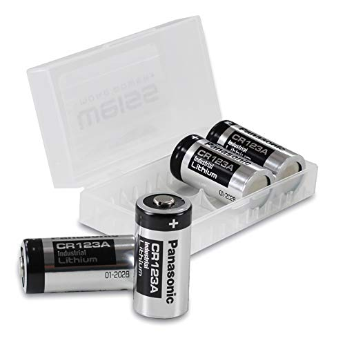 4x Panasonic CR123A INDUSTRIAL Lithium Batterien CR 123 A Batterien 3V, inkl. Batterieschutzbox von WEISS - more power + (u.a. geeignet als Batterien arlo Batterien) Cr123a Dl123a 3v Lithium-batterien