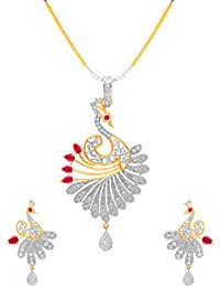 Aabhu Designer Peacock Style American Diamond Pendant Necklace Set With Chain And Earring For Women And Girl