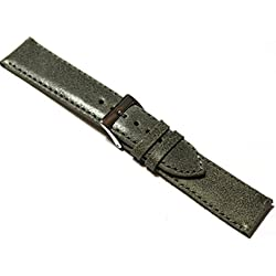18mm Distressed 'Vintage Style' Grey Leather Watch Strap.