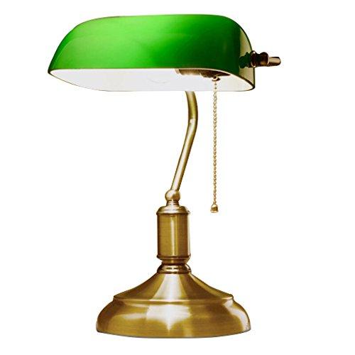 JILAN HOME- Lampe de table de bureau Antique Banker Antique avec abat-jour en verre vert et lumières Alloy fond E27