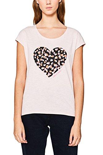 edc by ESPRIT Damen T-Shirt 127CC1K093, Rosa (Nude 685), Small (Herz-shirt Rosa)