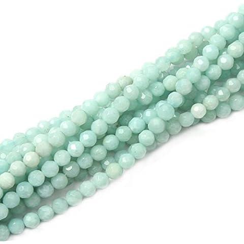 jennysun2010naturale pietra rotonda sfaccettata, perline, 2mm, 3mm, lunghezza 15,5cm (38.5cm) 1Strand per borsa per braccialetto collana orecchini gioielli artigianato design guarigione, Amazonite, 2 mm