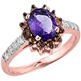 Little Treasures - 14 ct Rose Gold Amethyst and Diamond Ladies Ring