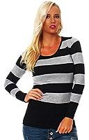 10288 Fashion4Young Damen Strick Minikleid Streifen Long Pullover Pulli Kleid in 4 Farben 2 Größen