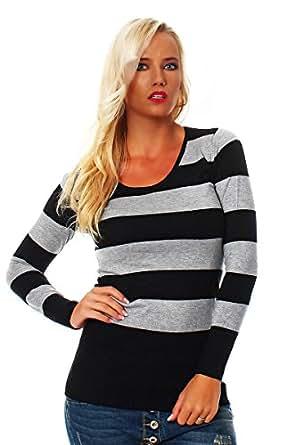 10288 Fashion4Young Damen Strick Minikleid Streifen Long Pullover Pulli Kleid in 4 Farben 2 Größen (S/M=34/36, Grau Schwarz)