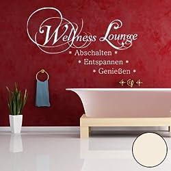"""A582 Wandtattoo """"Wellness Lounge"""" 143cm x 87cm creme-weiss (erhältlich in 40 Farben und 2 Größen)"""