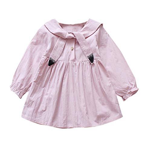 d Baby Kind Mädchen Langarm Cartoon Katze Partykleid Outfit Kleider Kleidung (Rosa, 3-4 Jahre-120) ()