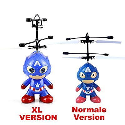XL flying super hero agent hero (blue) – astronaut – super hero, new 2018 with bright LED eyes. Easy to control with your hand. The toy for young and old. The great fun at any party.