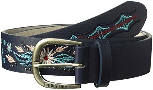 Desigual Damen Denim Flowers Belt With Embroidery Gürtel, navy, 90 -