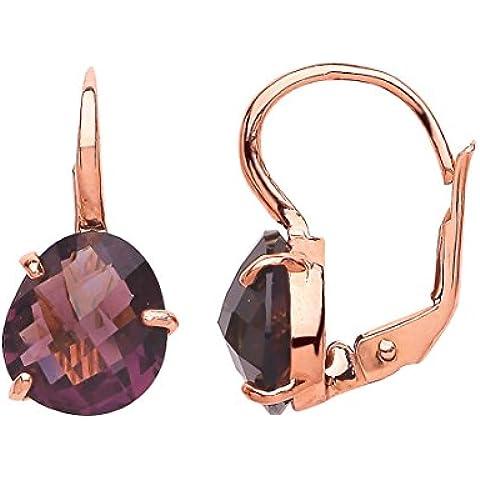 Jewelco Londres Rose pendientes de gota de la plata de la CZ pepita púrpura
