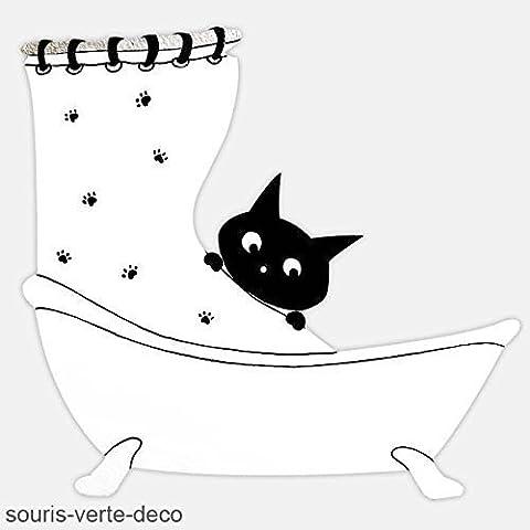 Plaque de porte de salle de Bains Chat noir et blanc humoristique et personnalisable