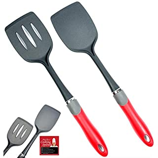 2-pc Kitchen Spatula Set - Solid and Slotted Cooking Spatulas - Silicone Handles & Plastic Nylon Utensils That Never Scratch Non Stick Frying Pans, Woks & Griddle - Rated No.1 Fish Slice Turner
