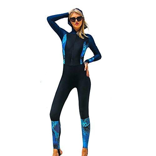 HCCX Frauen Neoprenanzug Zipper One Piece Badeanzug, Langarm Tauchanzug für Schwimmen Surfen Tauchen Badeanzug Neoprenanzüge, Black, m