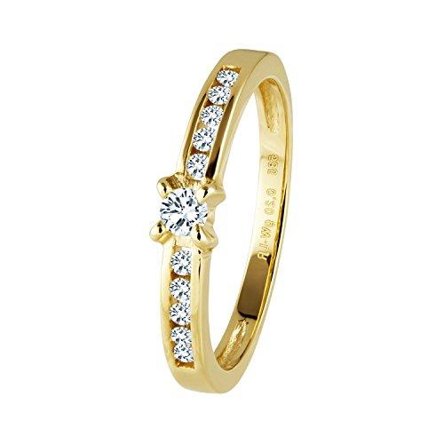 Diamond Line Diamant-Ring Damen 585 Gelbgold mit 11 Brillianten 0.20 ct. Lupenrein