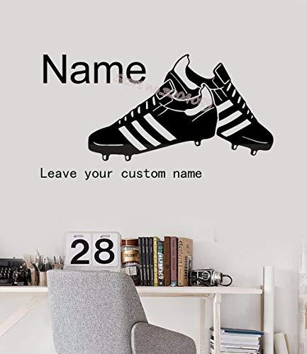 uhe Wandtattoo Hübsche Fußballschuhe Personalisierte Benutzerdefinierte Name Vinyl Aufkleber Jungen Kinder SchlafzimmerWohnkulturWandbild E130 cm x 60 cm ()
