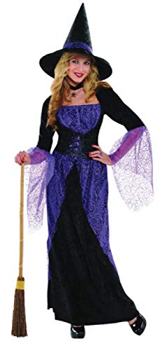 Ladies Black Purple Pretty Potion Witch Spooky Halloween TV Book Film Carnival Fancy Dress Costume Outfit UK 8-16 (UK 14-16)