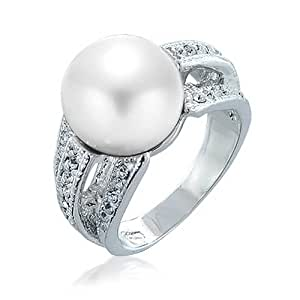 Bling Jewelry Crystal White Simulated Pearl Cocktail Ring Rhodium Plated