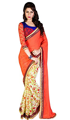Red Georgette and Jacquard Sarees With Blouse
