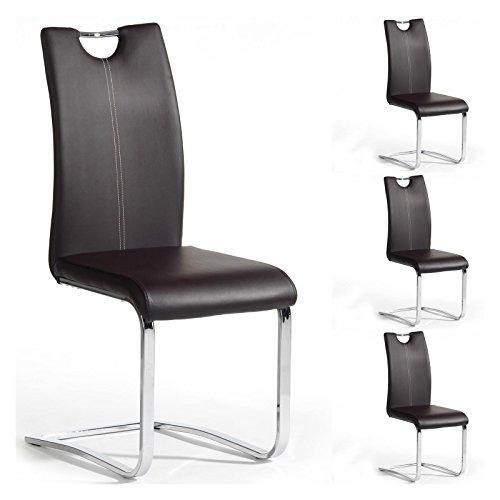 Produktabbildung von Esszimmerstuhl Schwingstuhl SABA, Set mit 4 Stühlen, chrom/braun