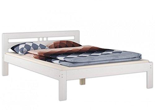 Erst-Holz® Doppelbett 140×200 Massivholzbett Kiefer weiß Futonbett Rollrost Jugendbett 60.64-14 W