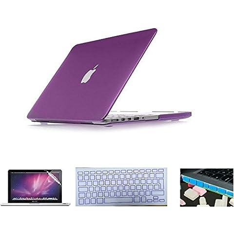 i-Buy Caso de Shell duro + cubierta del teclado + Protector de pantalla + enchufe del polvo para Apple Macbook Pro 15 pulgadas con DVD Driver(Modelo A1286)- Metalescent púrpura