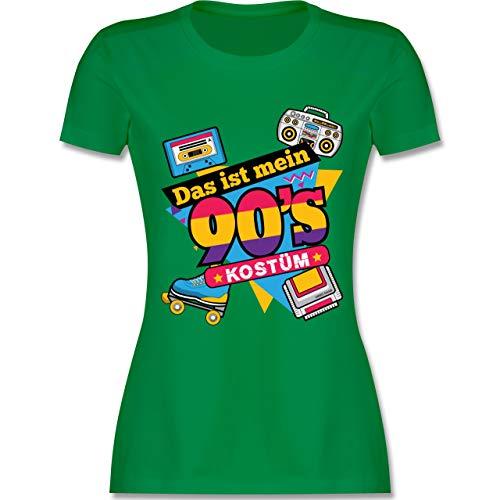 Karneval & Fasching - Das ist Mein 90er Jahre Kostüm - XXL - Grün - L191 - Damen Tshirt und Frauen T-Shirt