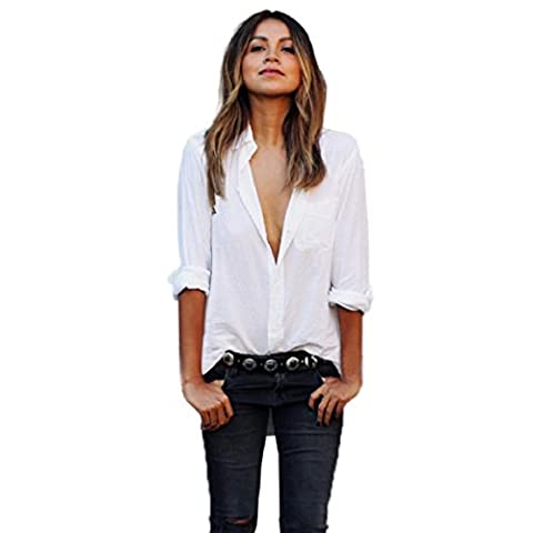 FEITONG Women Sexy Blouse Long Sleeve Shirt Large Loose Size Pocket Shirts V Neck Tops (S, White)