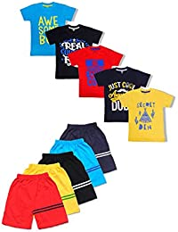 T2F Boys' Tshirt and Shorts Pyjama Set (Pack of 10)