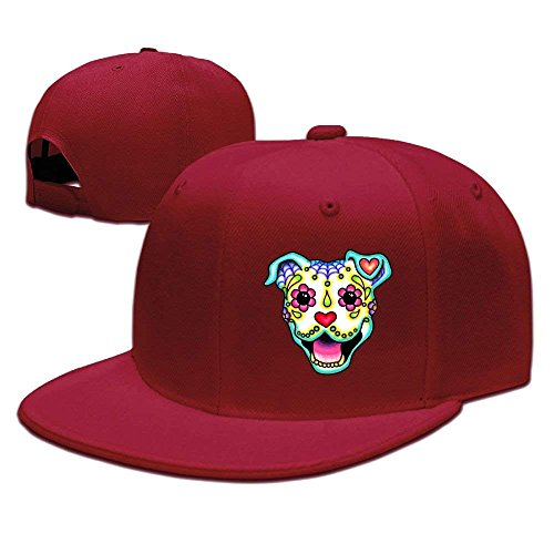 Suxinh Pitbull Sugar Skull Unisex Adjustable Flat Brim Baseball Cap Hip Hop Hat (Hip-hop-galaxie Hat)