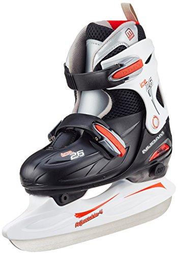 Nijdam Kinder Eishockey Schlittschuhe Größenverstellbar, Schwarz/Rot/Weiß, 38-41, 1012261
