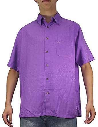 Mens Hawaiian Short Sleeve 100% SILK Camp Shirt L Purple