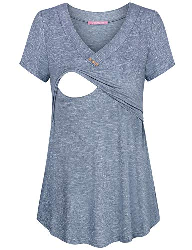 Tiered Tunic Top (JOYMOM Damen Stillshirt, V-Ausschnitt, kurzärmelig, Stillshirt - - XX-Large)