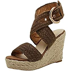 Mosstars Sandalias de cuña Mujer Verano 2019 Mujer Moda Casual Hebilla Cuñas Sandalias Zapatos Romanos Sandalias de Vestir Mujer Tacon Zapatos de tacón niña Disfraz Sandalias Mujer