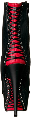Pleaser DELIGHT-1025 Blk-Red Faux Leather/Blk Matte