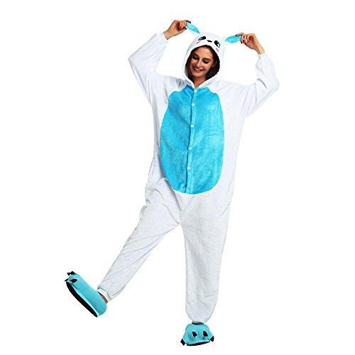 JYSPORT Rabbit Bunny Pajamas Pigiama in pile unisex con cappuccio Per bambini, donne, uomini (Coniglio blu, S)