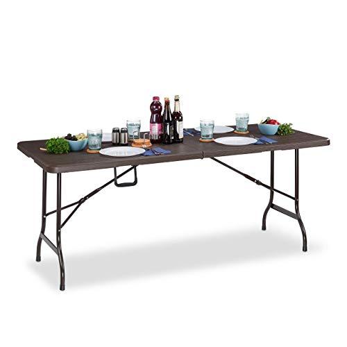 Relaxdays Gartentisch, Holzoptik, eckiger Klapptisch, Sicherheitsriegel, mit Tragegriff, HxBxT: 73 x 180 x 74 cm, braun