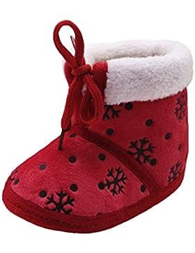 Weihnachten Baby Warme Schuhe,Tonsee Mädchen Jungen Schneestiefel Schnee-Druck Winterstiefel Baumwoll-Gewebe Krippe...
