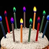 akooya 12pcs hornear color llama Vela de cumpleaños creativa romántica vela colorido tarta de cumpleaños vela