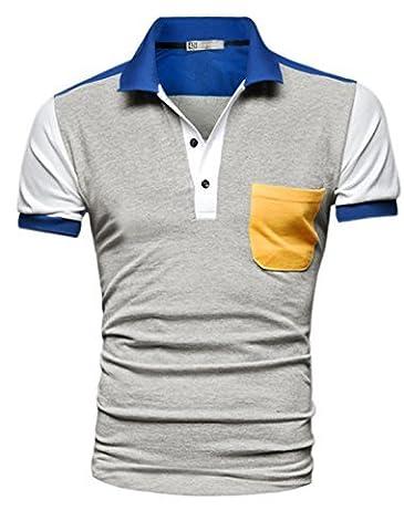 sourcingmap® Hommes Manches Courtes Bouton Supérieur Bloc De Couleur Chemise Polo - Homme, Gris, M