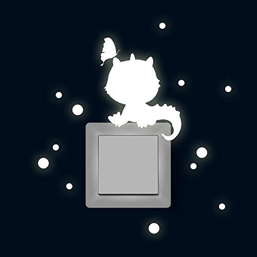 Lichtschaltertattoo Lichtschalteraufkleber Lichtschaltersticker Wandtattoo Wandbild Drache mit Schmetterling und Punkten fluoreszierend M1880