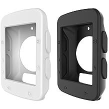 BlueBeach® 2 Pezzo Silicone Custodia Protettiva Cover Copertura per Garmin Edge 520 GPS Computer da Bicicletta (Bianco e Nero)