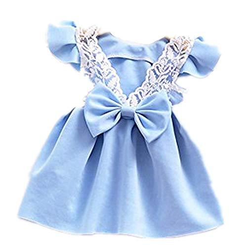 WUSIKY Sommerkleid Kleinkind Baby Mädchen Bowknot Rückenfreies Kleid Prinzessin Outfits Kleidung Spitzenkleid Minirock Hoop Rock Unterrock Kleid Tüll Unterrock Kinder Geschenk(90,Blau) (Weiß Kleinkind Ballettschuhe)
