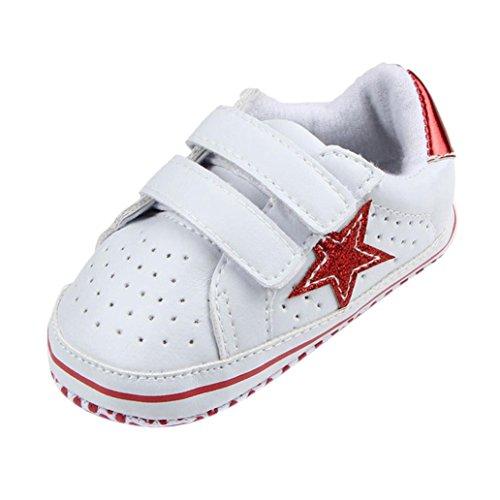Longra Schuhe Soft Atmungsaktiv Sneakers Mädchen Lauflernschuhe Kleinkind Monate Fünfzackige Red Jungen Sterne ~ 0 Krippeschuhe Baby Babyschuhe Casual 18 dwqIzx8fd