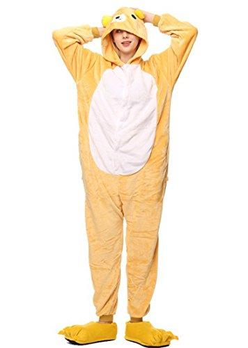 (URVIP Neu Unisex Festliche Anzug Flanell Pyjamas Trickfilm Jumpsuit Tier Cartoon Fasching Halloween Kostüm Sleepsuit Party Cosplay Pyjama Schlafanzug Bär Medium)