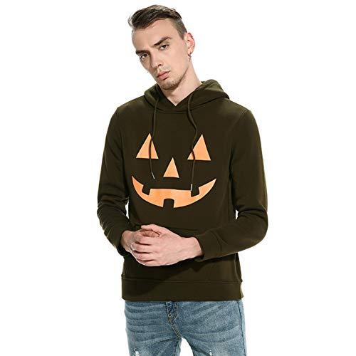 pullover Hoodie Pullover mit Kapuze Halloween Teufel Kürbis Gesicht Drucken (Kürbis Armee Grün, L) ()