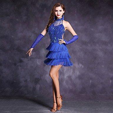 ce's Kleider Frauen Polyester Milch Fibre Quaste Strass Pailletten 5 Stück hohe ärmellose Kleid Tanz Kostüm, Royal Blau, M (Royal Queen Kind Kostüme)